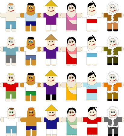 The peoples of different nationalities are keeping for hands Stock Vector - 4228800