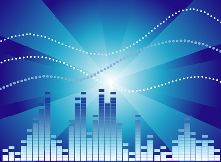 Dark blue graphic equalizer on a blue gradient background Vector