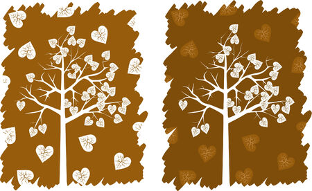 broun: White hearts tree on a broun background