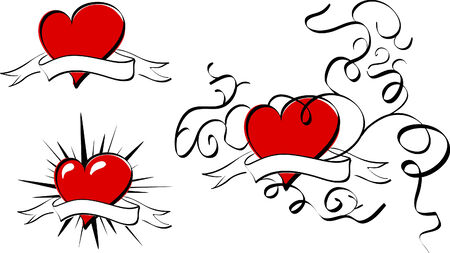The different red vector hearts with banners