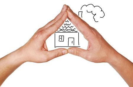 are combined: The combined hands, are forming a roof over the house Stock Photo