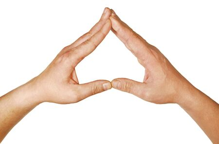 The combined hands, are forming a triangle Stock Photo