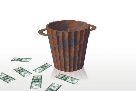 inflation basket: Reciclar y dinero, est�n aislados en un fondo blanco