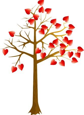 scarlet: Scarlet hearts tree on a white background Illustration