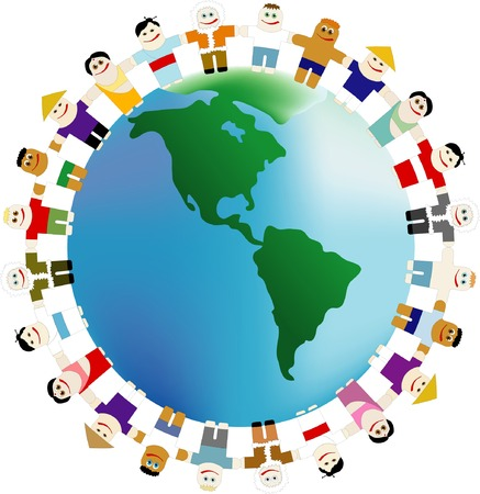 The peoples of different nationalities are keeping for hands around the Earth Stock Vector - 4228817