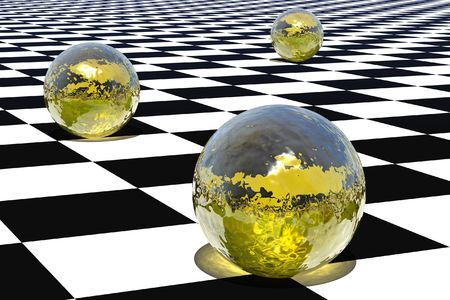 Yellow glass spheres, are standing on a checkered background Stock Photo - 4263952