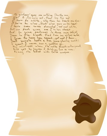 The brown vector manuscript with Shakespeares sonnets Illustration