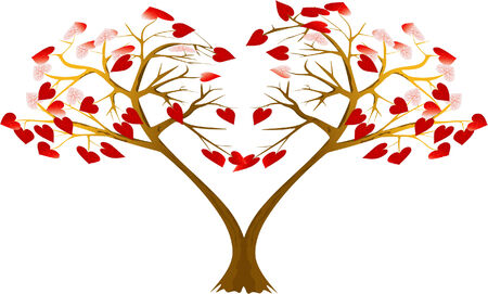 Two trees with hearts, are bent to each other Illustration