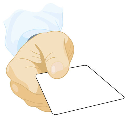 A mans hand which gives the visiting card Vector