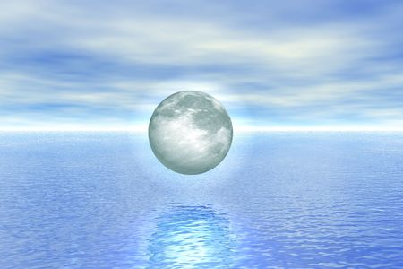 The moon over water, is executed in the 3d-editor photo