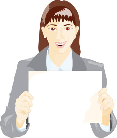 A woman, which gives the sheet of paper in the hands Vector