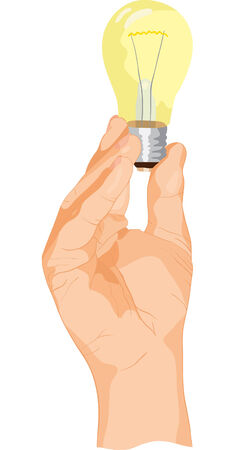 shone: The vector lamp is shone in the hand Illustration
