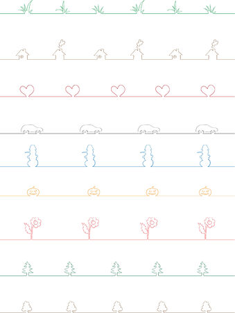 Collection of the nine different vector borders Stock Vector - 4410124