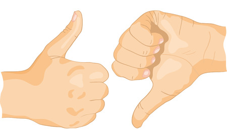 encouraging: Approving and not encouraging hands gestures, on a white background