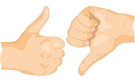 L'approbation et � ne pas encourager des gestes des mains, sur un fond blanc Illustration