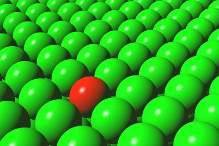 Set green balls and one ball of red colour Stock Photo - 4466103