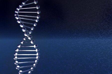 Molécula de ADN sobre un fondo azul oscuro, se está ejecutando en el editor de 3d  Foto de archivo - 5892645