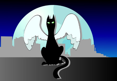 Black cat with the angelic wings, is sitting on a roof Stock Vector - 6000619