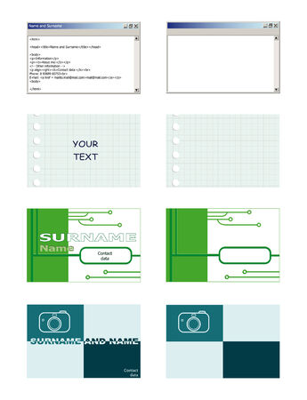 A set of visiting card, are isolated on a white background Vector