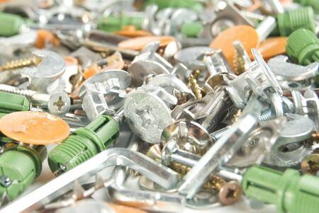 bilding: The various bilding accessories: nails, bolts, screws etc Stock Photo