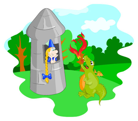 The dragon and  princess in the tower Vector