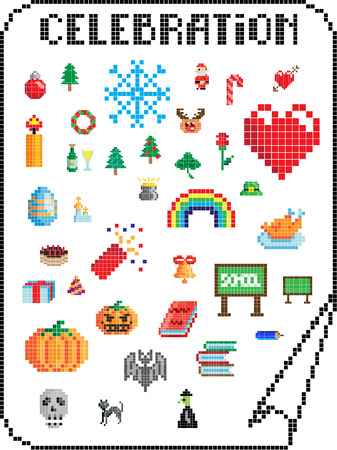 signs of various holidays in the pixel-art style Illustration