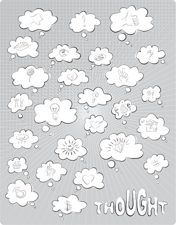 The set of grey  thought bubbles Illustration