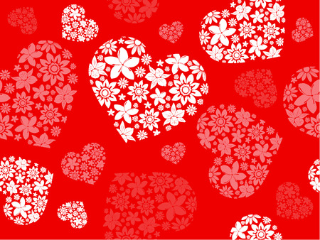 Seameless background from the floral hearts Vector