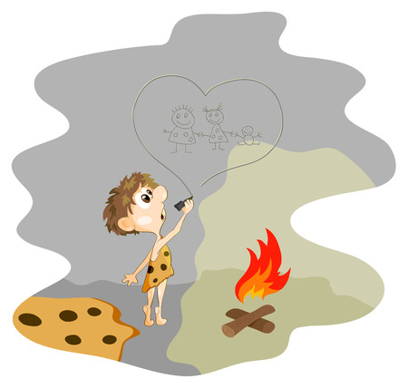 neanderthal:  caveman boy drawing the family