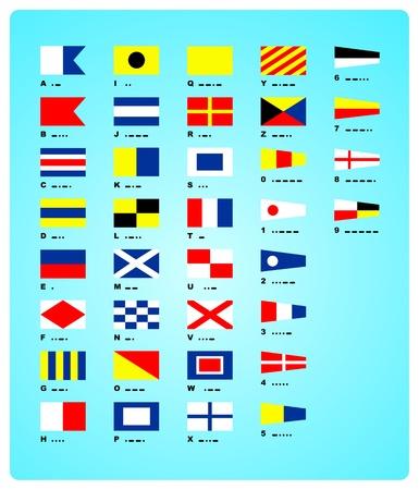 Les drapeaux nautiques de vecteur et le code Morse