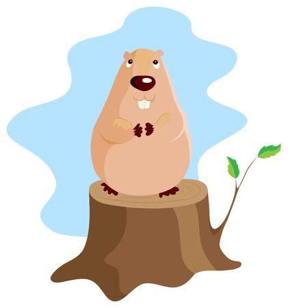 La marmotte de dessin anim� de vecteur est assis sur un stub