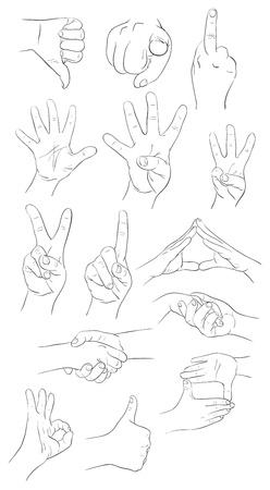 Collection des gestes de la main des vecteur des contours