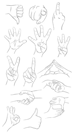 Collection of  the vector hand gestures contours Vector