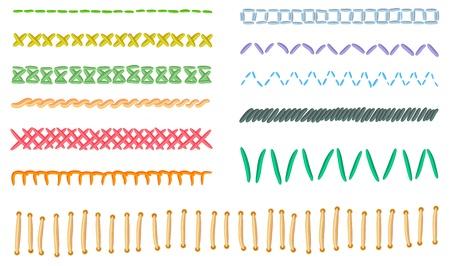 hilo rojo: colecci�n de diferentes puntos de forma y color