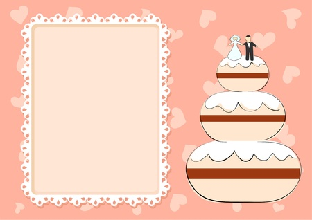 wedding cake on the pink background Vector