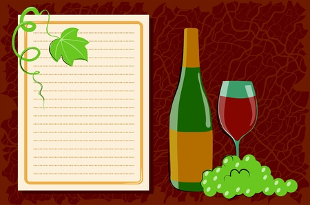 Wine and grape on a dark brown background Vector