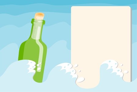 The green bottle in the sea Vector