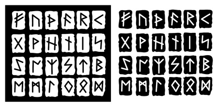 collection of the black and white runes Stock Vector - 8926085
