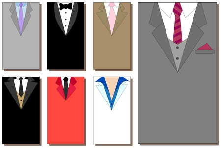 lapel: Collection of the suit backgrounds for business cards 5x9 cm Illustration