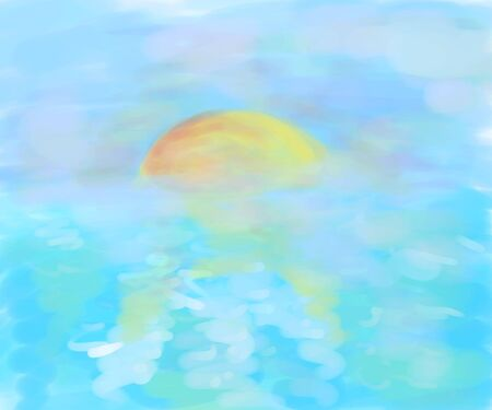 sun rising: watercolor landscape with sea and sun
