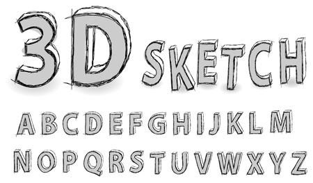 gray 3d sketch alphabet, is imitating a hand-drawn