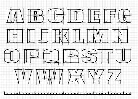 alphabet with guide lines