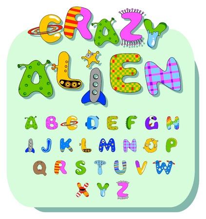 aliens: cartoon alphabet with various design