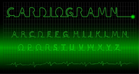 cardiogramm alphabet on a dark background Stock Vector - 9152933