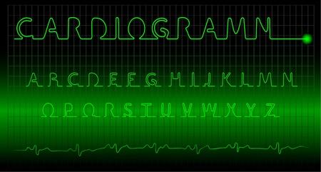 cardiogramm alphabet on a dark background Stock Vector - 9152933
