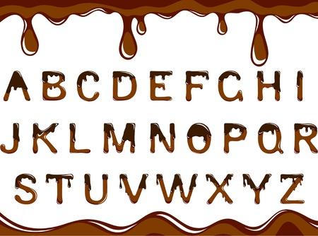 chocolate melt: alfabeto di cioccolato scuro su sfondo bianco Vettoriali