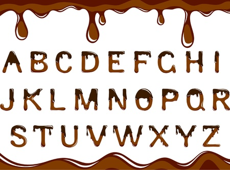 melting chocolate: dark chocolate alphabet on a white background