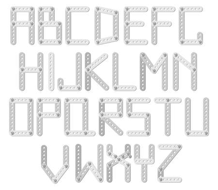 Vector metal designer alphabet on a white background Stock Vector - 9179456