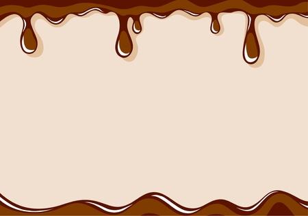 chocolate melt: Sfondo marrone chiaro vettoriale con cioccolato al latte liquido