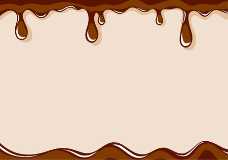 runny: Vector light brown background with liquid milk chocolate